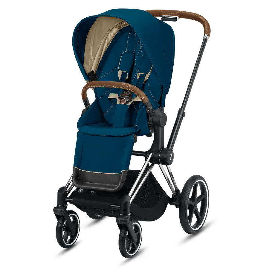 cybex PLATINUM Kinderwagen Priam - Rahmen Chrome inklusive Lux Sitz in Mountain Blue