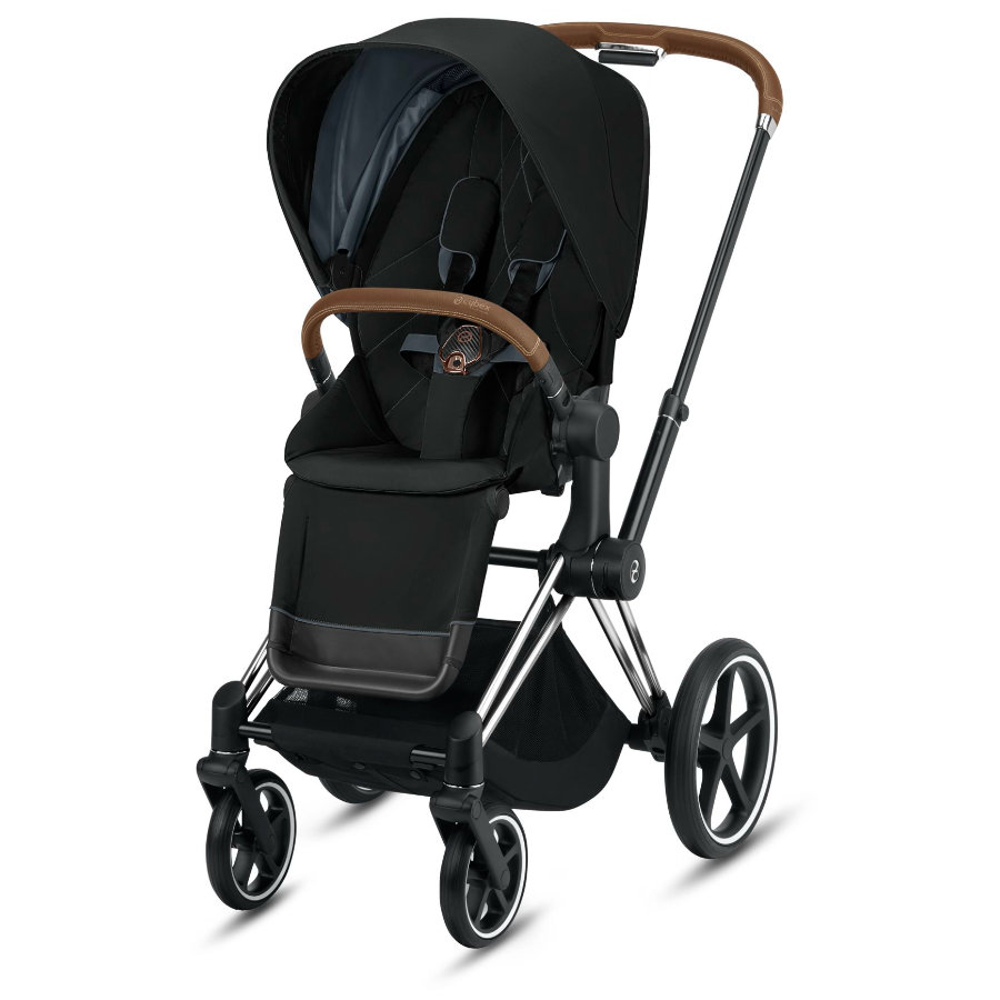 cybex PLATINUM Kinderwagen Priam - Rahmen Chrome inklusive Lux Sitz in Deep Black