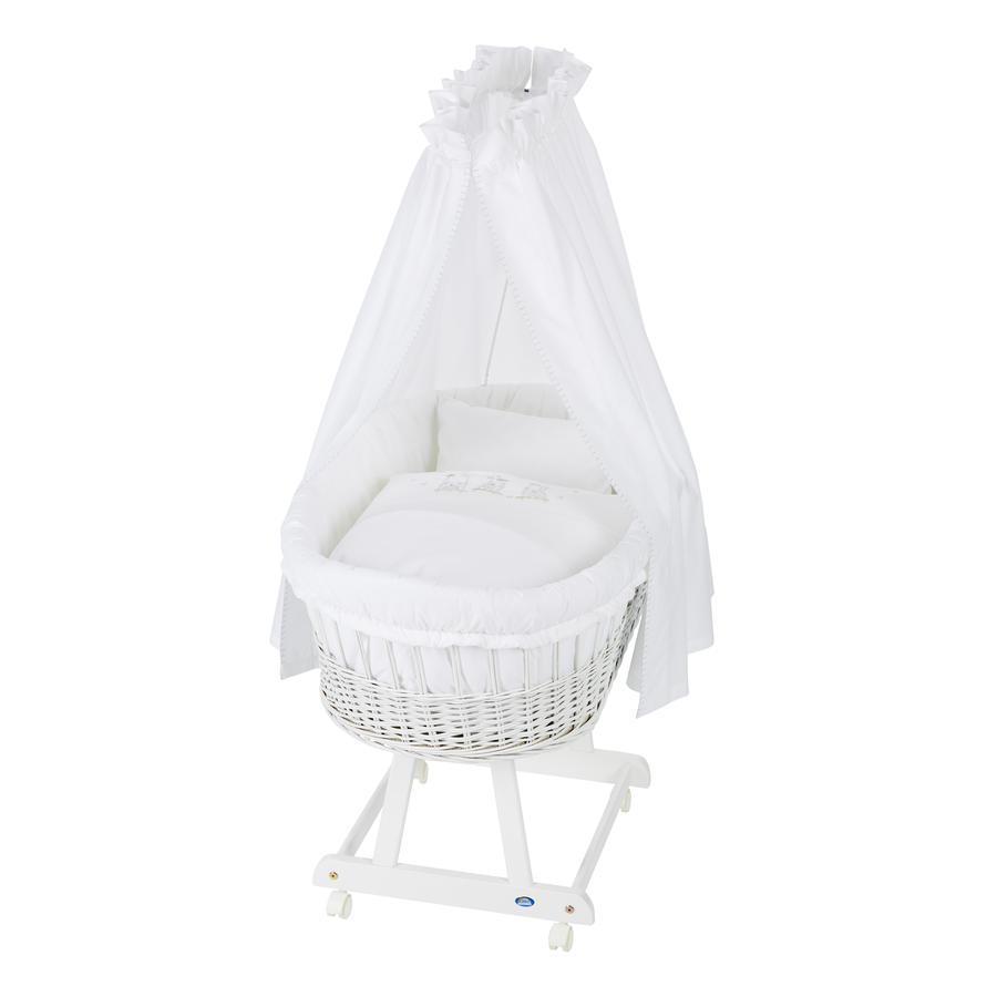 Alvi® Berceau à roulettes complet Birthe bois blanc Ours balançoire 63,5x101x79 cm