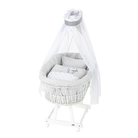 Alvi® Berceau à roulettes complet Birthe bois blanc Raindrops 63,5x101x79 cm
