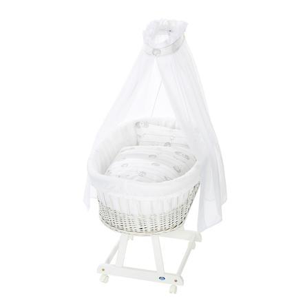 Alvi® Berceau bébé complet Birthe blanc, amis hérissons