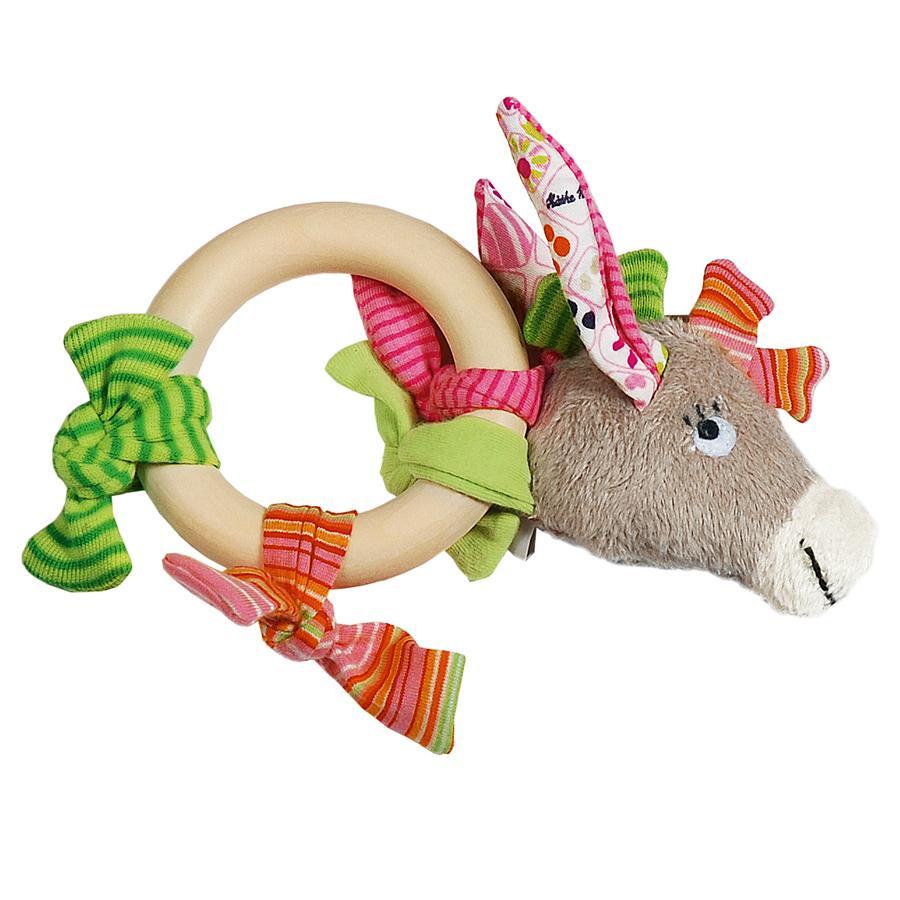 KÄTHE KRUSE Greifling Esel Rosina mit Holzring