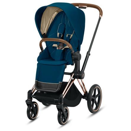 cybex PLATINUM Kinderwagen Priam - Rahmen Rosegold inklusive Lux Sitz in Mountain Blue