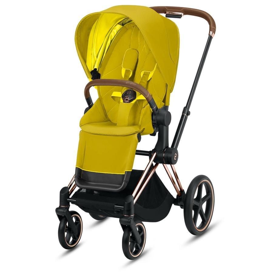 cybex PLATINUM Kinderwagen Priam - Rahmen Rosegold inklusive Lux Sitz in Mustard Yellow
