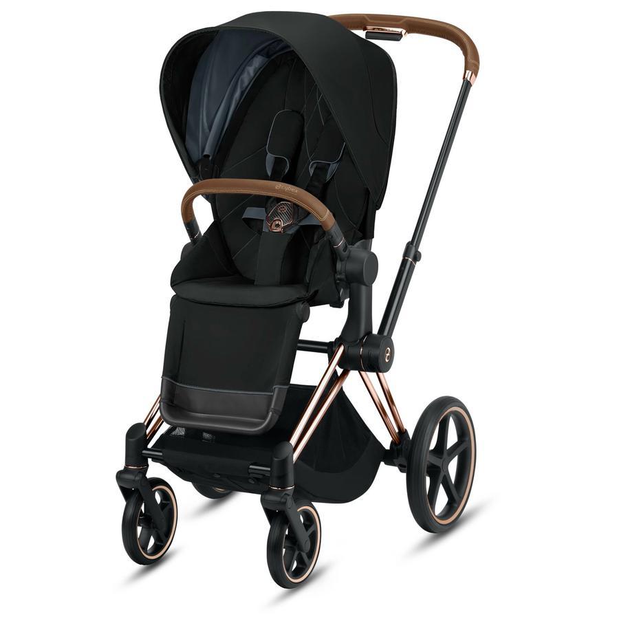 cybex PLATINUM Kinderwagen Priam - Rahmen Rosegold inklusive Lux Sitz in Deep Black