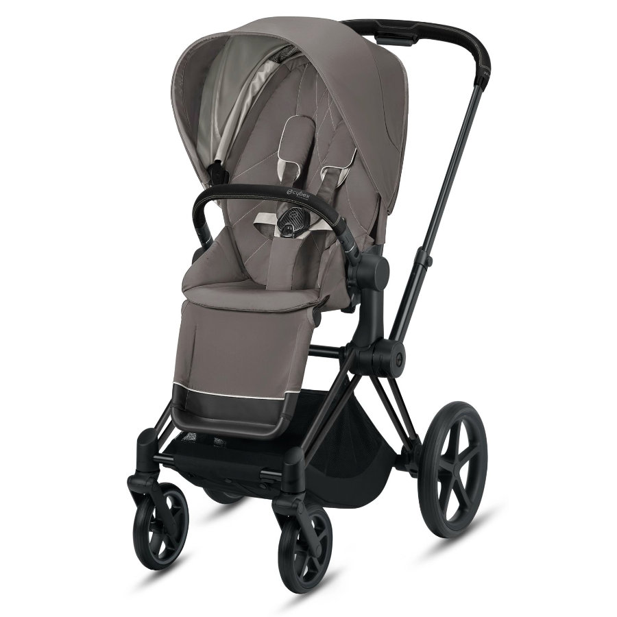 cybex PLATINUM Kinderwagen Priam - Rahmen Matt Black inklusive Lux Sitz in Soho Grey