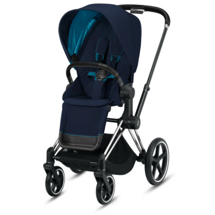 cybex PLATINUM Kinderwagen Priam - Rahmen Chrome schwarz inklusive Lux Sitz in Nautical Blue