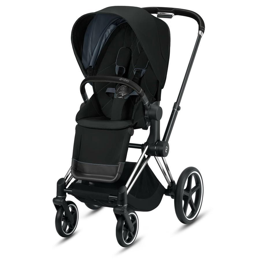 cybex PLATINUM Kinderwagen Priam - Rahmen Chrome schwarz inklusive Lux Sitz in Deep Black