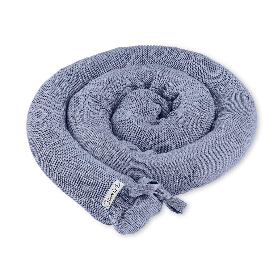 Sterntaler Tour de lit traversin enfant tricoté Baylee bleu 180x8 cm