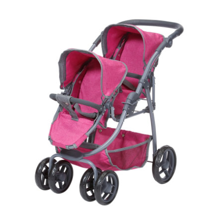 knorr® toys Zwillingspuppenwagen Milo, berry