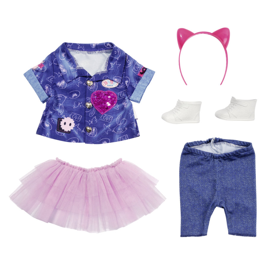 Zapf Creation BABY born® Deluxe denimklänningssats, 43 cm