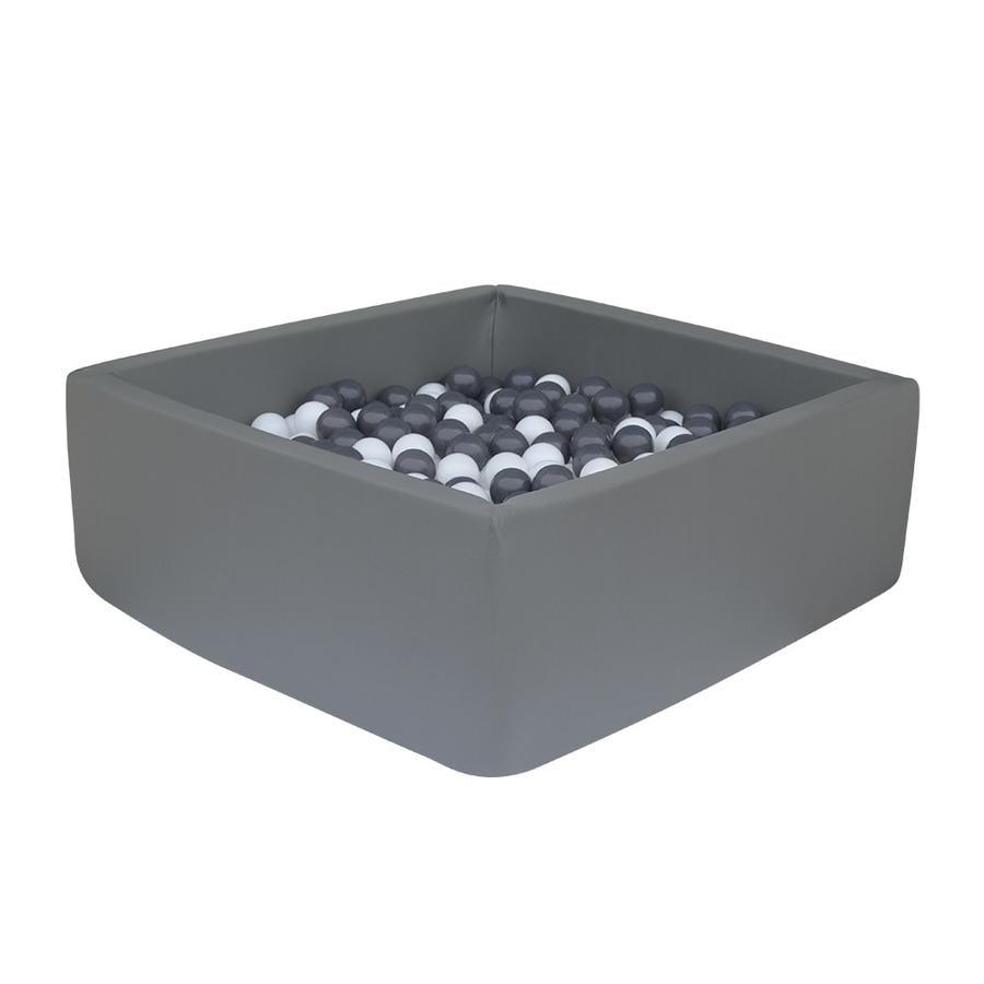 knorr® speelgoed ballenbad zacht - Donkergrijs vierkant inclusief 100 ballen grijs/ white