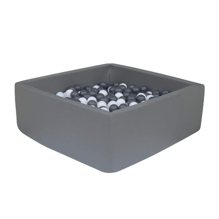 knorr® toys  bollbad mjukt - Mörkgrå fyrkant inklusive 100 bollar grå / vit
