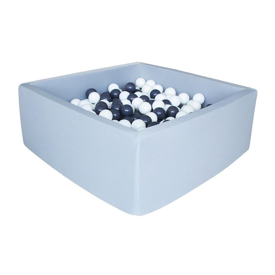 knorr® speelgoed ballenbad zacht - Grijs vierkant inclusief 100 ballen grijs/ white