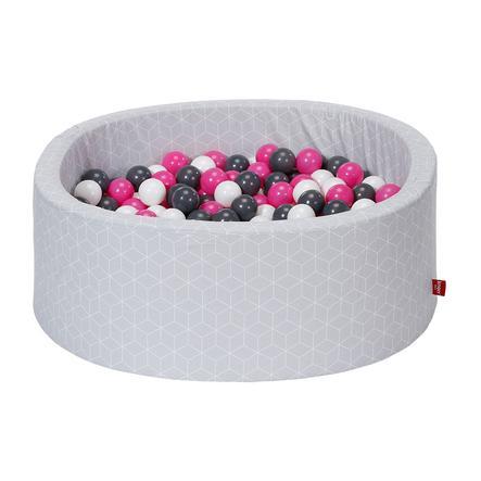knorr® toys  bollbad mjukt - Geo kubgrå inklusive 300 bollar grädde / grå / ros