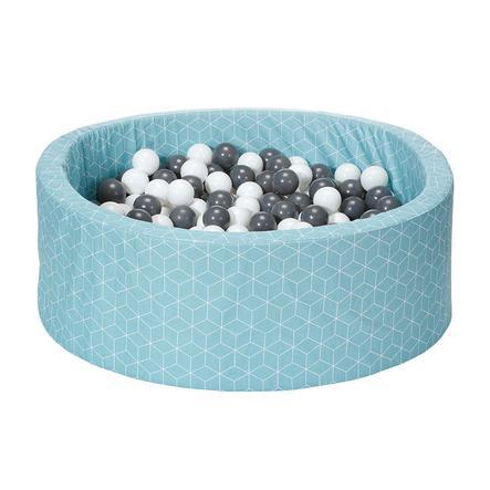 knorr® toys Ballenbak soft Geo cube neo mint inclusief 300 ballen grijs/creme