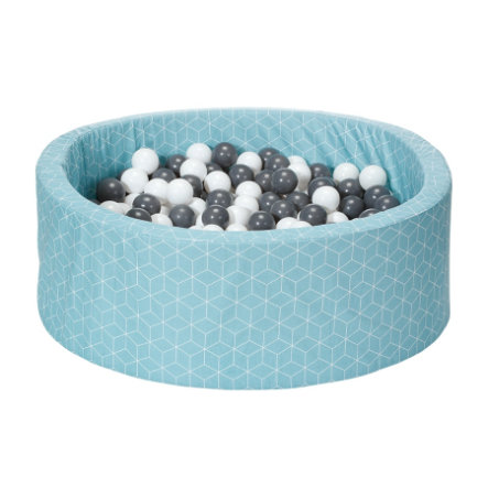 knorr® toys  bollbad mjukt - Geo kub neo mynt inklusive 300 bollar grå / grädde