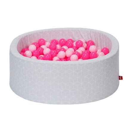 knorr® leker ballbad mykt - Geo terninggrå inkludert 300 baller myk rosa