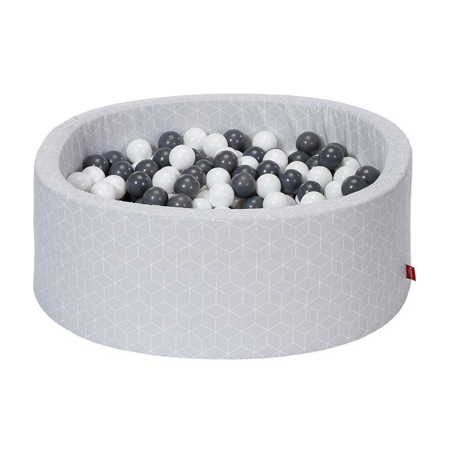 knorr® toys Ballenbak soft - Grijs Kubus incl. 300 ballen grijs/creme