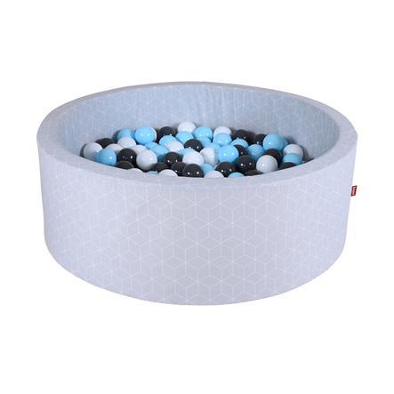 knorr® toys Bällebad soft - Geo cube grey inklusive 300 Bälle creme/grey/lightblue
