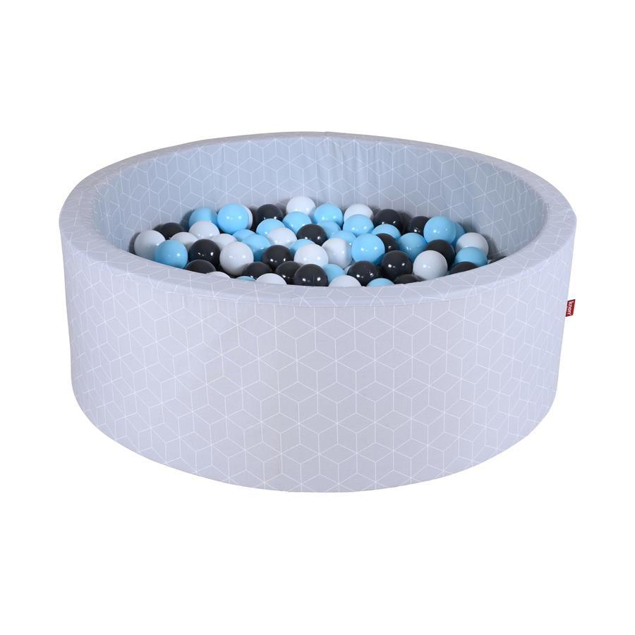 knorr® leker ballbad mykt - Geo terninggrå inkludert 300 baller krem ??/ grå / lys blå