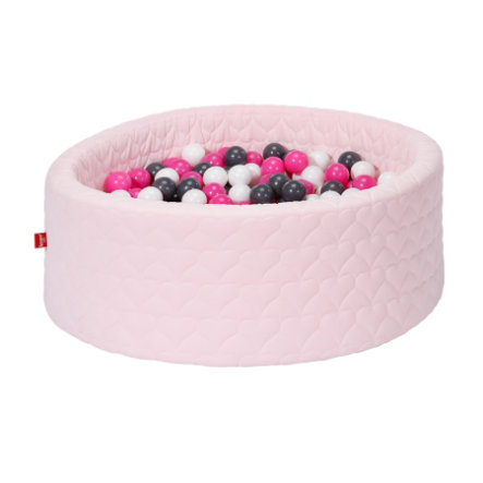 knorr® toys Piscina di palline soft - Cosy heart rose incl. 300 palline creme/grey/rose