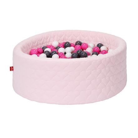 knorr® toys Piscine à balles enfant soft Cosy heart rose 300 balles crème/gris/rose
