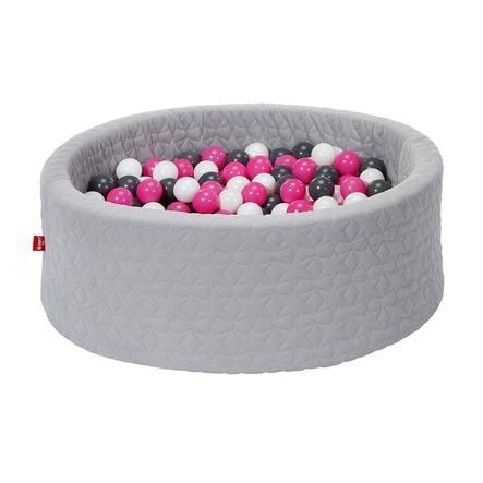 knorr® toys Piscine à balles enfant soft Cosy geo grey 300 balles crème/gris/rose