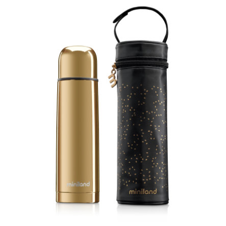 miniland deluxe thermos Thermosflasche mit Isoliertasche gold 500ml