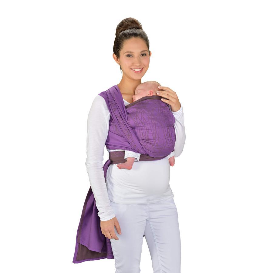 Hoppediz Maxi šátek na nošení dítěte Jacquard New York Mocca Viola