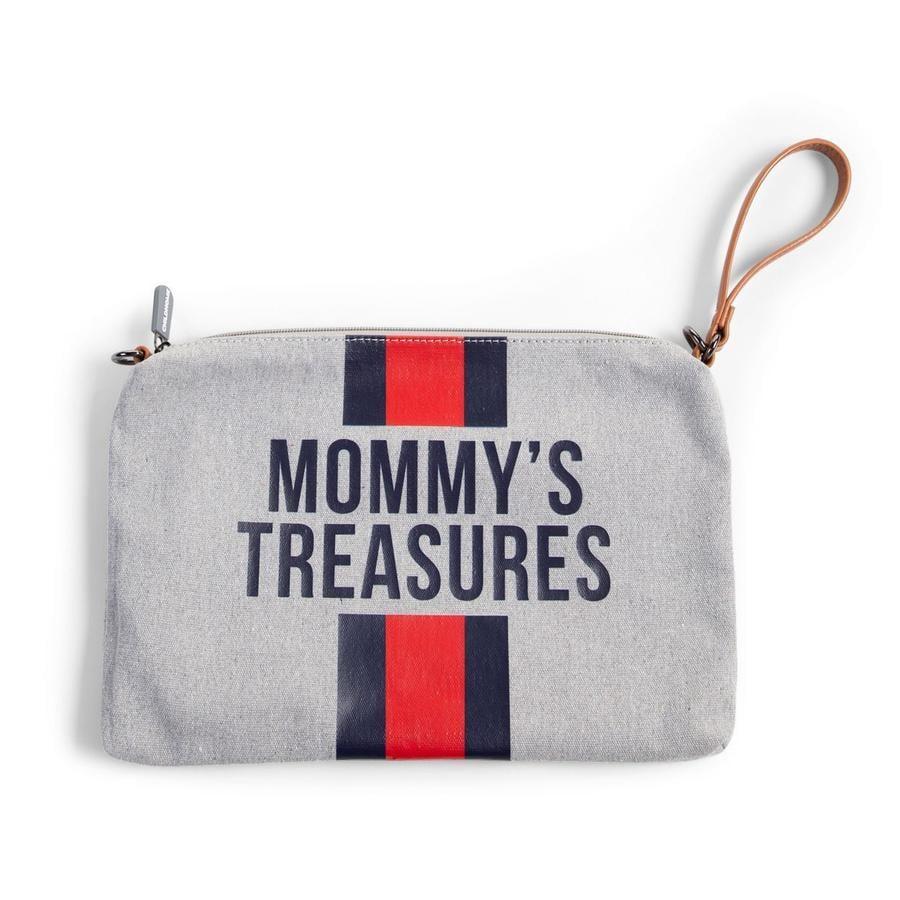 CHILDHOME Mamma Clutch Lerret grå striper rød / blå