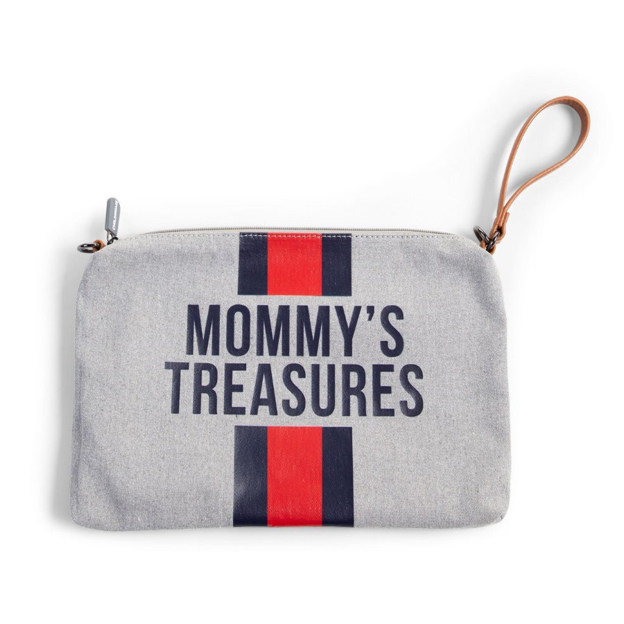 CHILDHOME Mommy Clutch Canvas grijs strepen rood/blauw