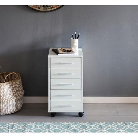 Wohnling® Caisson à tiroirs avec roulettes enfant Lisa, bois blanc