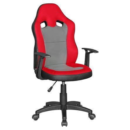 Amstyle® Chaise de bureau enfant pivotante Speedy, rouge/gris