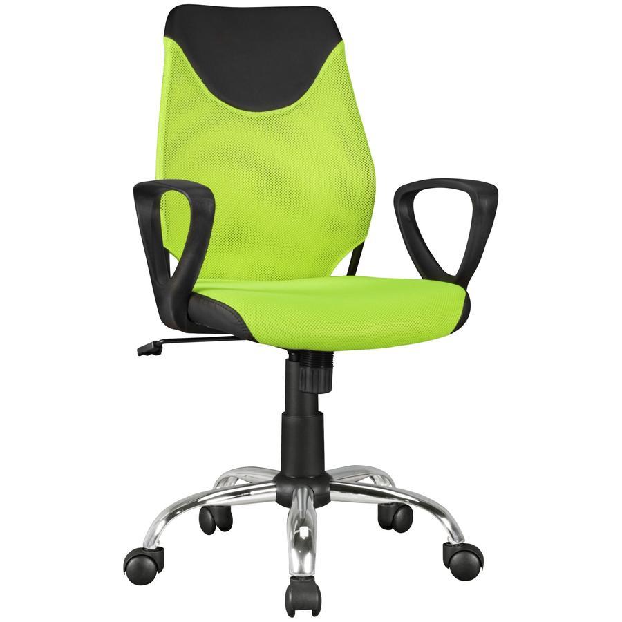 Amstyle® Chaise de bureau enfant KiKa, noir/vert citron