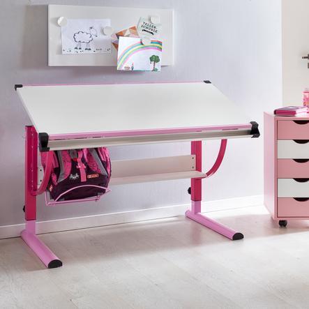 Wohnling® Bureau enfant Design Moritz bois 120x60 cm rose/blanc