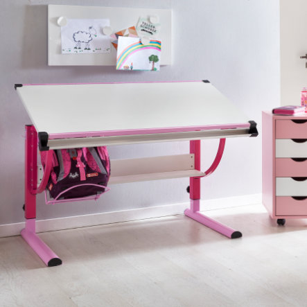 Wohnling® Design Lasten työpöytä Moritz, 120 x 60 cm - vaaleanpunainen / valkoinen