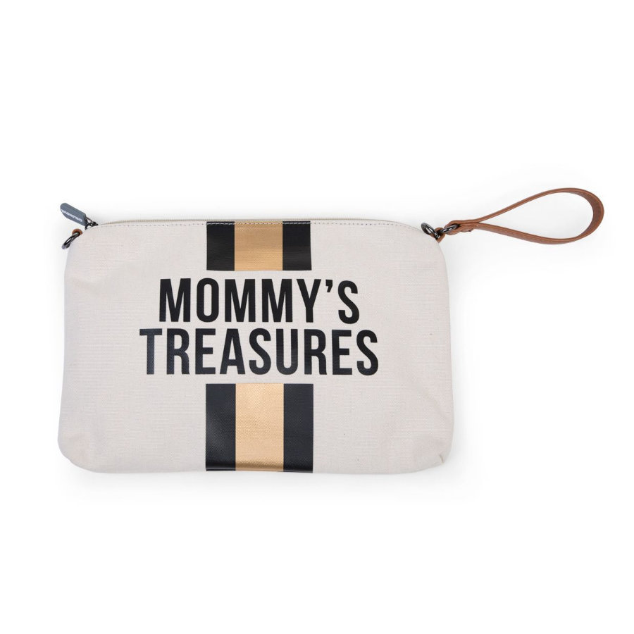 CHILDHOME Mommy Clutch Canvas cremehvid striber sort/guld