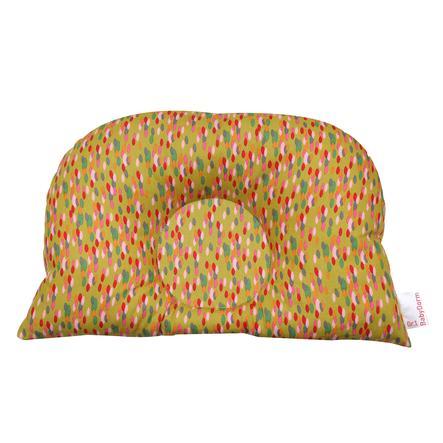 BabyDorm® Kinderwagenkissen BuggyDorm Konfetti ocker mit buntem Konfetti