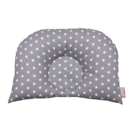 BabyDorm® Kussen voor kinderwagen BuggyDorm Jonna grijs met witte sterretjes