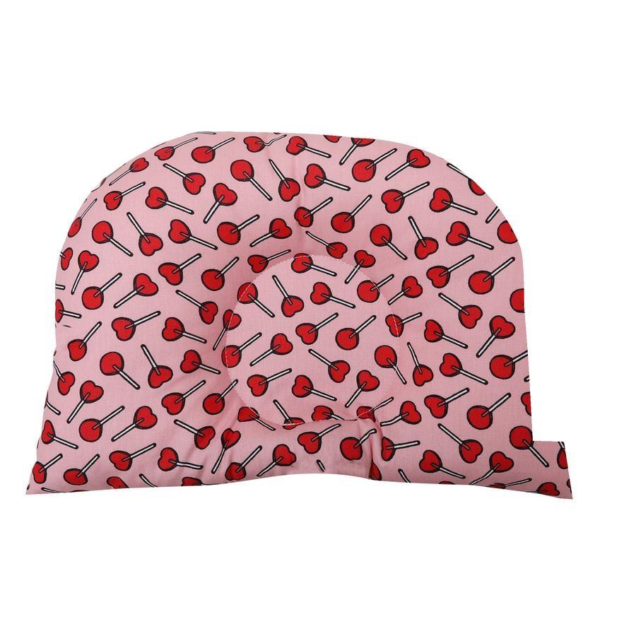 BabyDorm® Kinderwagenkissen BuggyDorm LolliPop rot mit rosa Lutschern