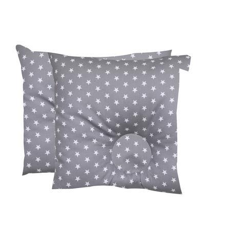 BabyDorm® Präventivkissen EasyDorm Jonna grau mit weißen Sternen
