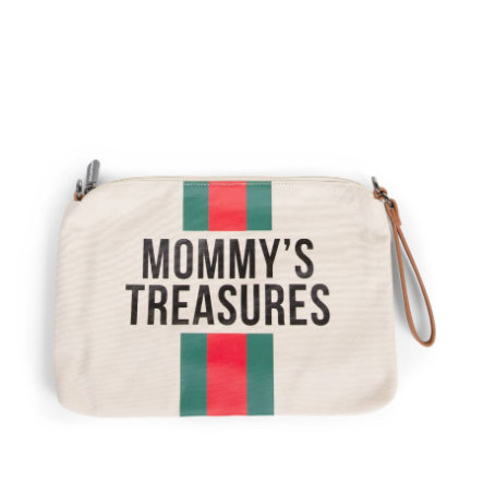 CHILDHOME Mommy Clutch Canvas cremewit strepen groen/rood