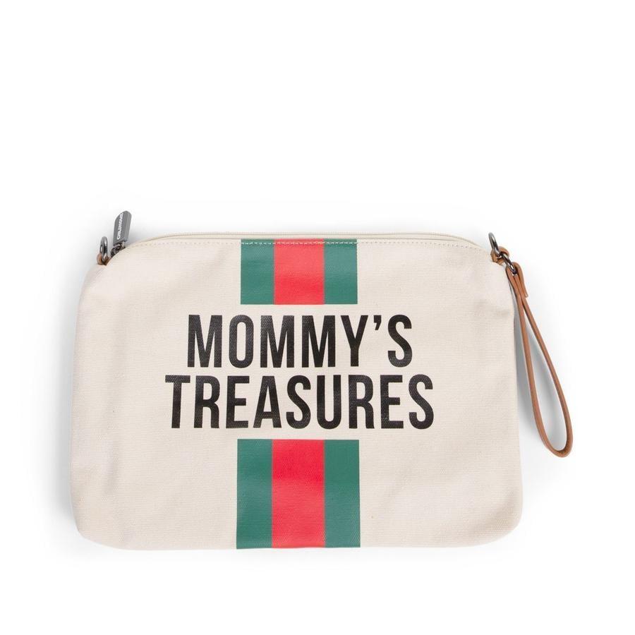 CHILDHOME Mommy Clutch Canvas cremeweiß Streifen grün/rot