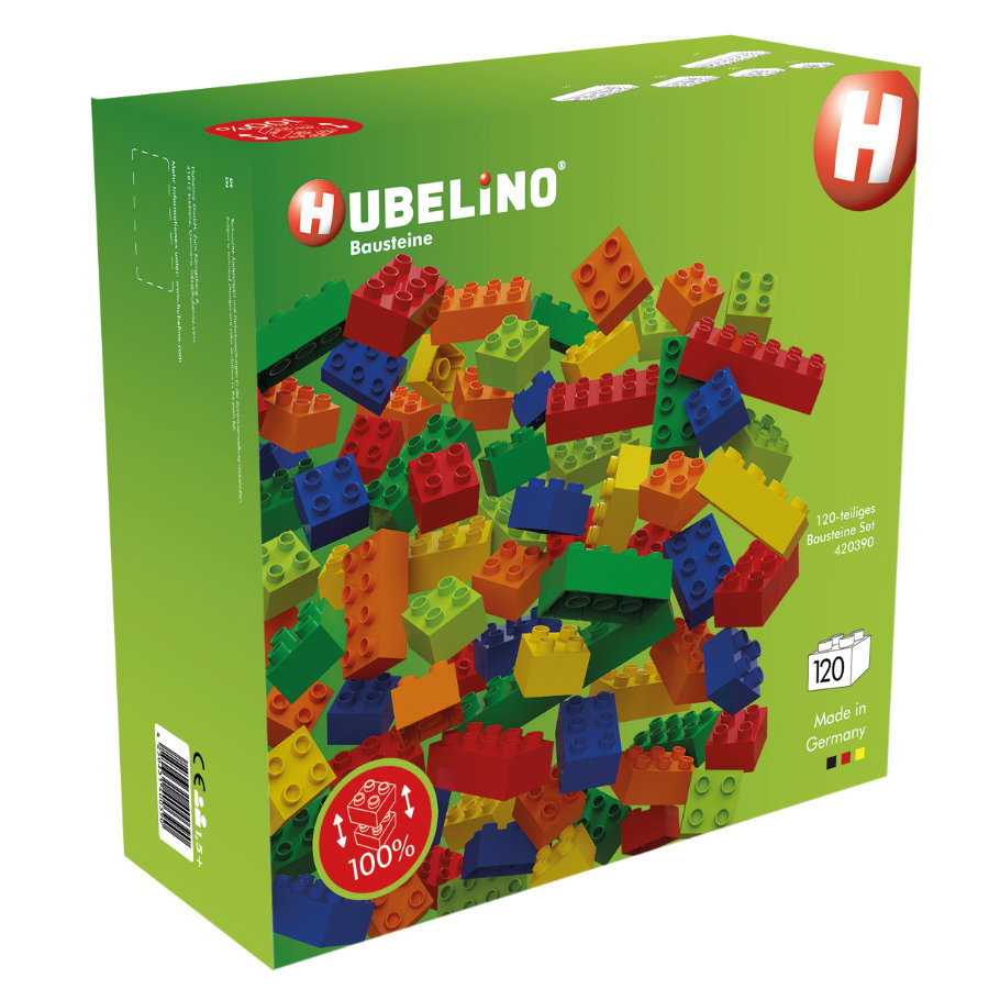 HUBELINO ® byggeklosser med kulespor, 120 stk