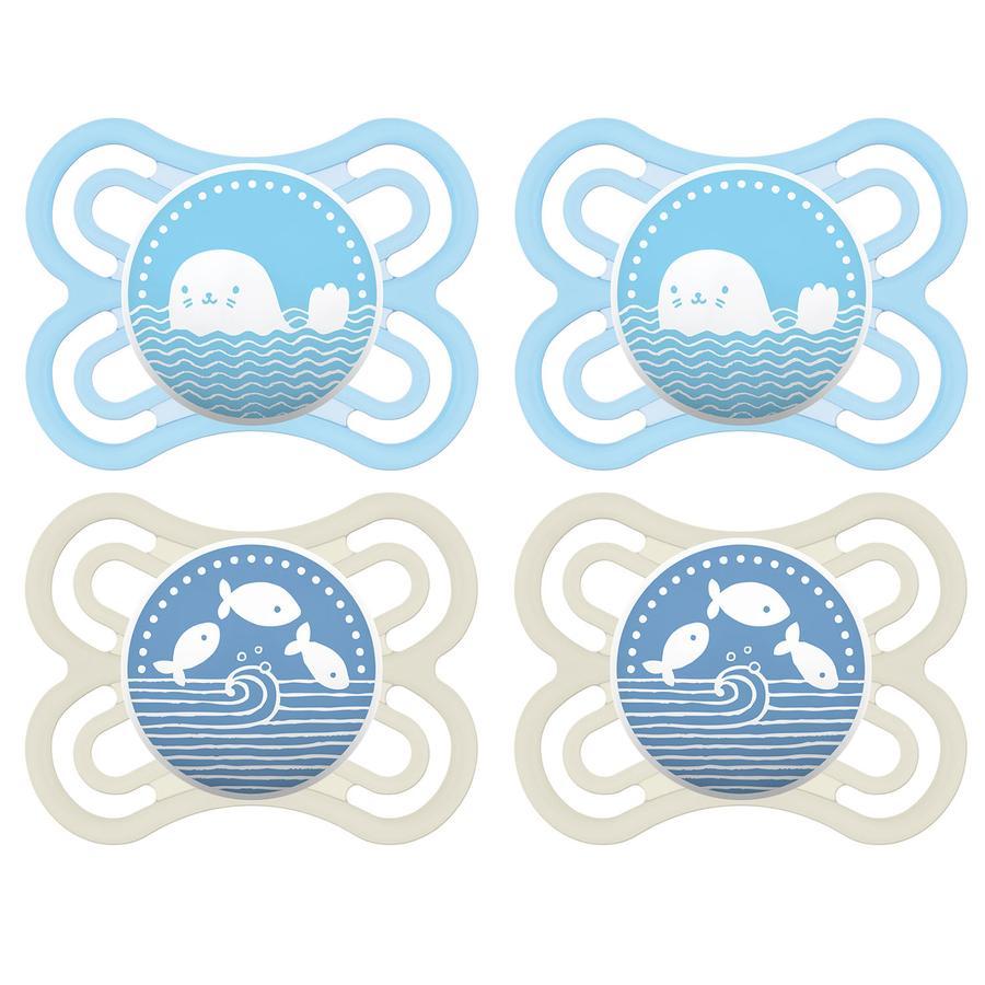 MAM Schnuller Perfect Silikon 0 - 6 Monate 4 Stück blau / beige