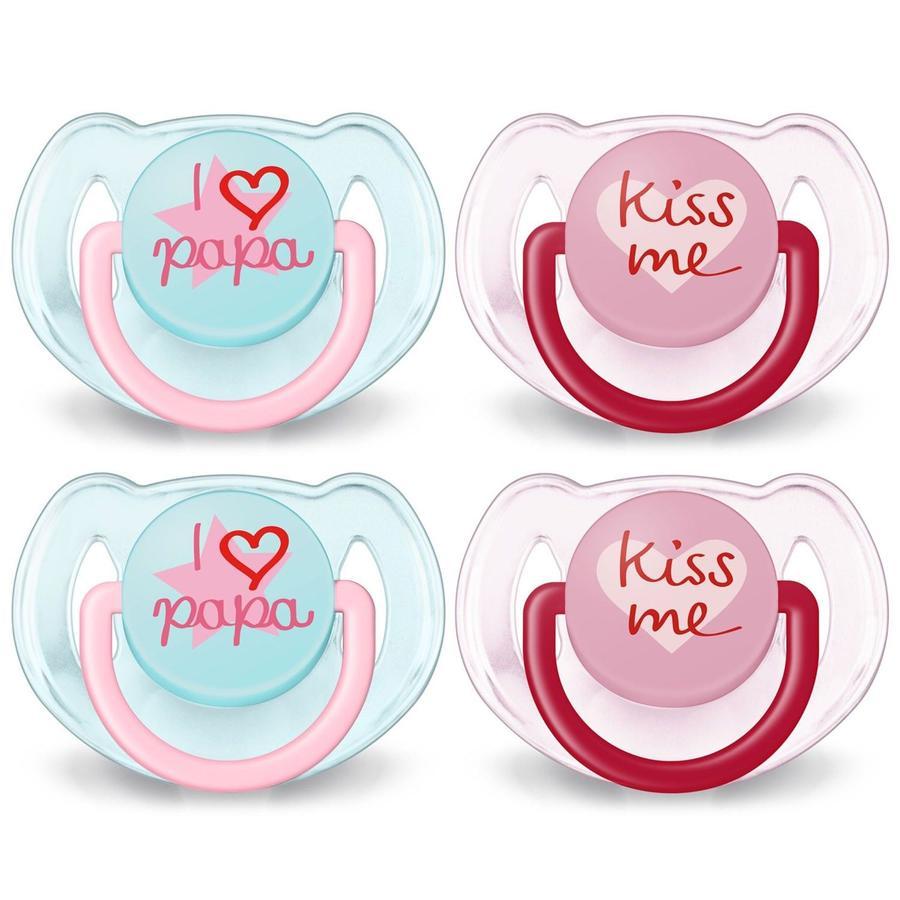 Philips Avent Speen Classic SCF172/72 6 - 18 maanden 4 stuks Kiss me / I love Papa - roze