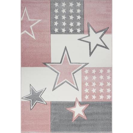 LIVONE Barnmatta Kids Love Rugs Starfield, rosa/silvergrå, 120 x 170 cm