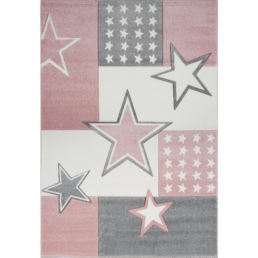 LIVONE play a dětský koberec Kids Love Rugs Starfield, starožitný růžový / stříbrný šedý, 160 x 220 cm
