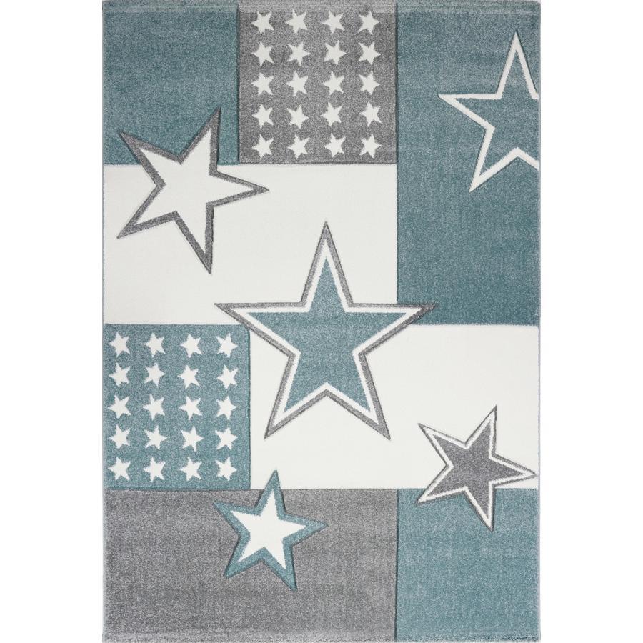 LIVONE play a dětský koberec Kids Love Rugs Starfield, aqua / silver grey, 160 x 220 cm